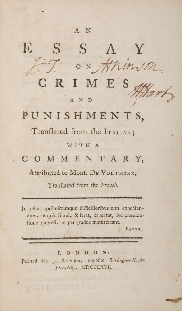 An Essay on Crimes and Punishments, Translated from the Italian. Cesare Beccaria, Voltaire.