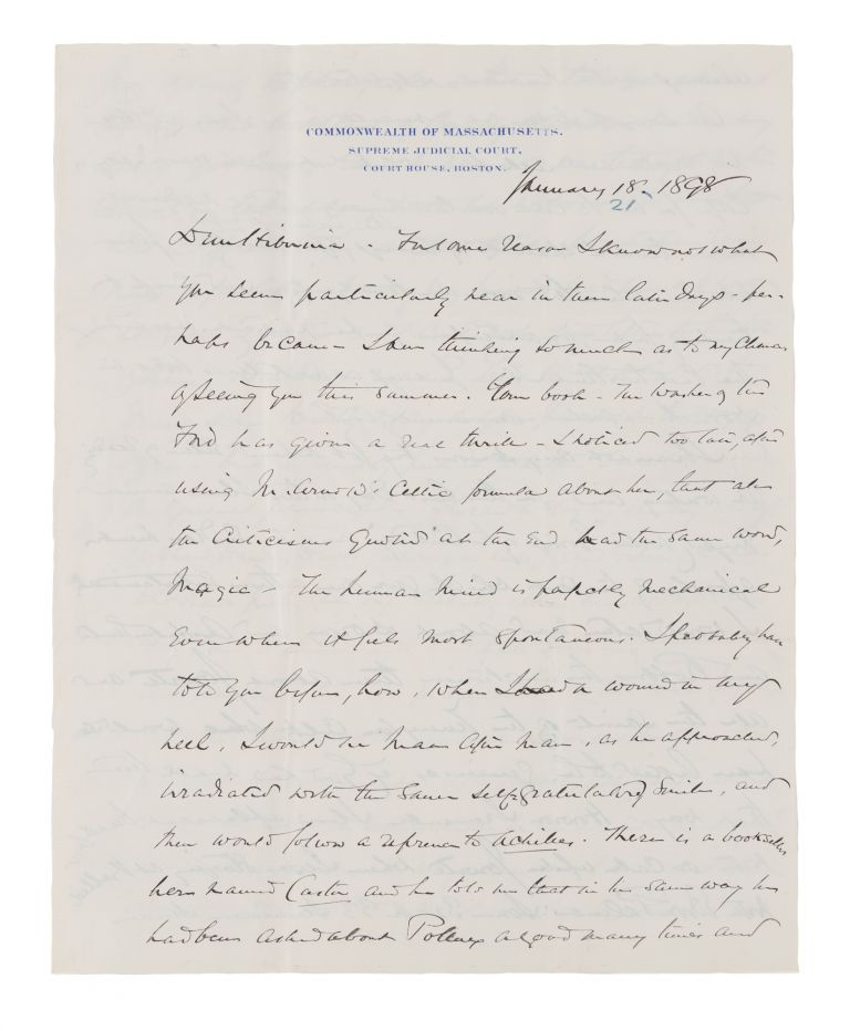 "Autograph Letter Signed ""Yours, OWH"" to Lady Clare Castletown, 1898. Holmes Manuscript, Jr, Oliver Wendell."