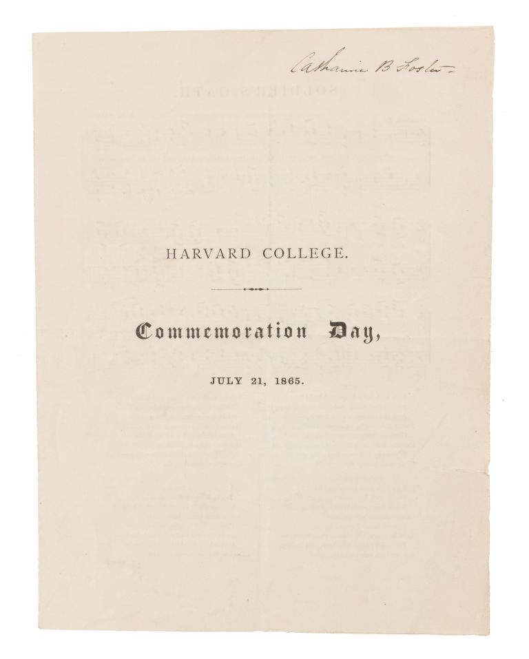 Commemoration Day, July 21, 1865. Harvard College.