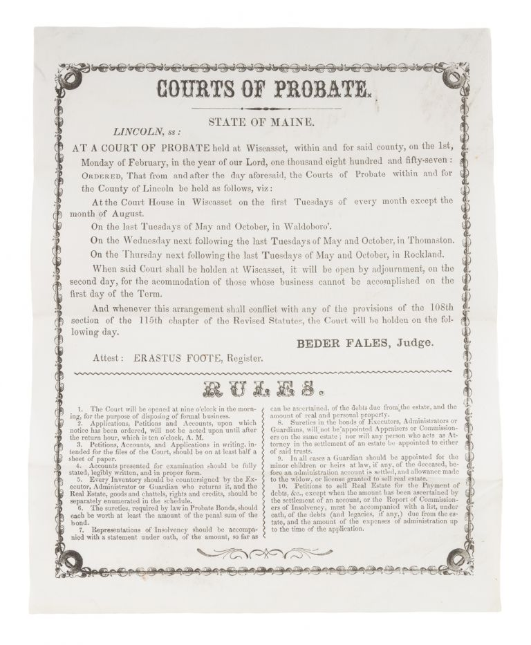 Courts of Probate, State of Maine, Lincoln. Broadside, Beder Fales, Judge.