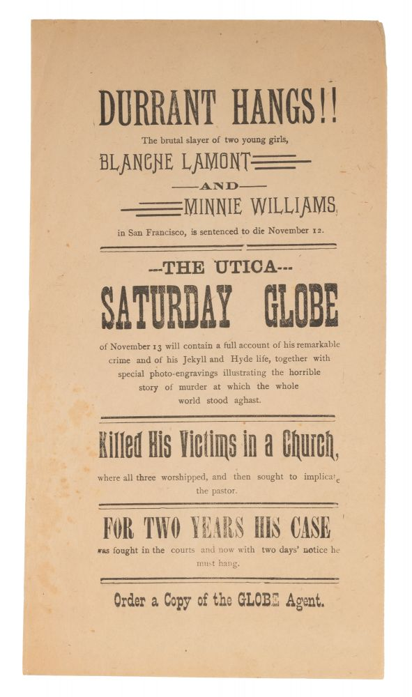 """Durant Hangs!! The Brutal Slayer of Two Girls, 9-1/4"""" x 5,"""" 1890. Publisher Advertisement."""