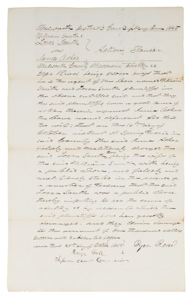 Accusation of Adultery in the Wisconsin Territory. 1845. Manuscript, Wisconsin, James Acker, Defendant.