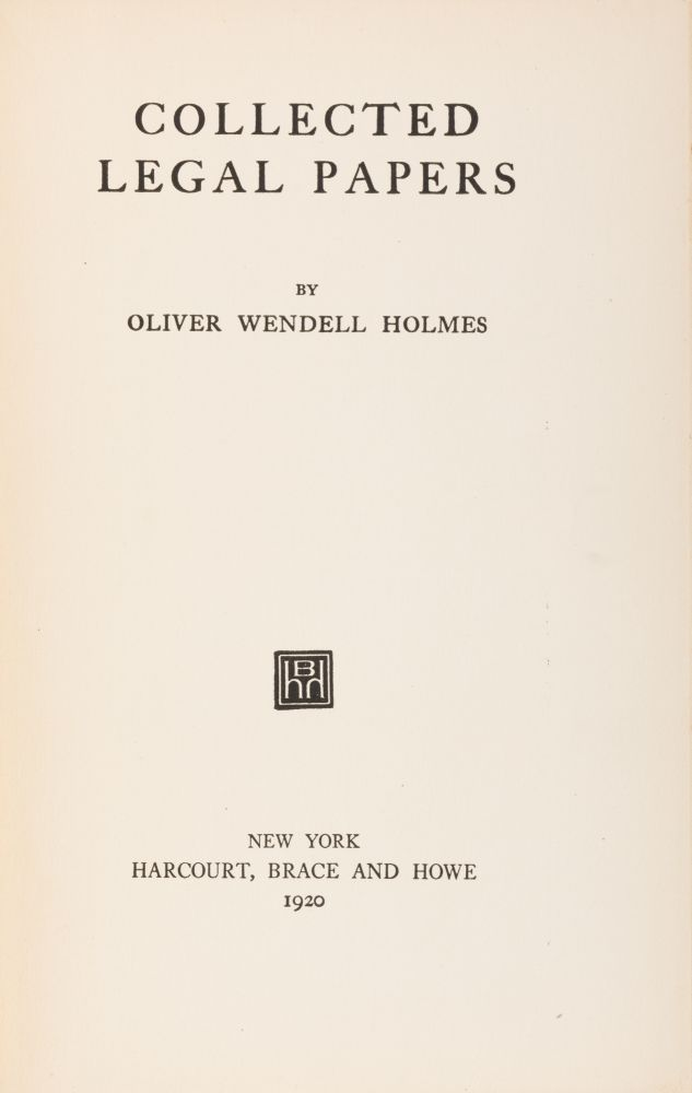 Collected Legal Papers, Owned by a Notable Left-Leaning Female Lawyer. Oliver Wendell Holmes.