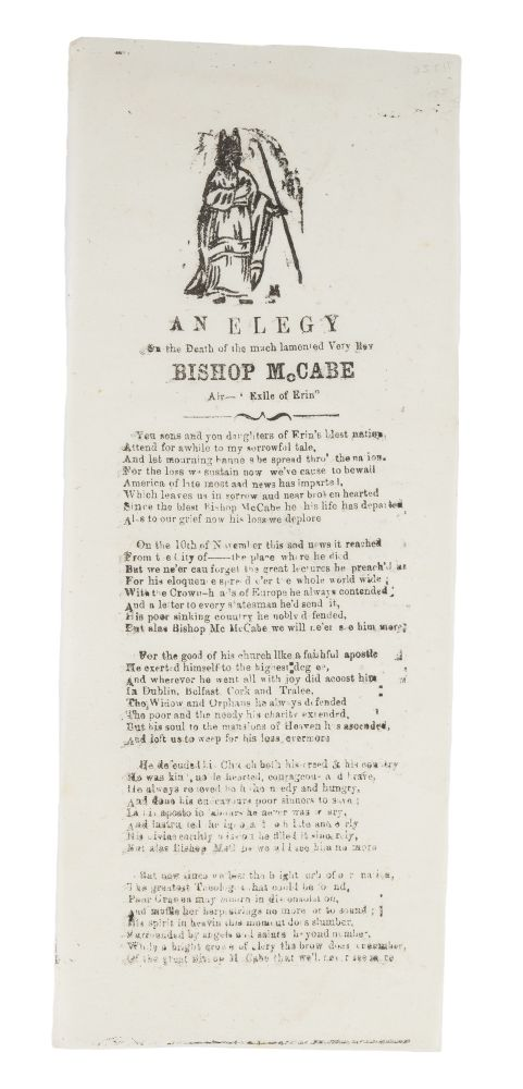 An Elegy on the Death of the Much Lamented Very Rev Bishop McCabe. Broadside, Edward MacCabe.