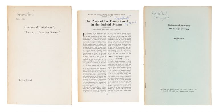 Offprints, Addresses and Pamphlets, 3 of Them Signed by Pound, 1908. Archive, Roscoe Pound.