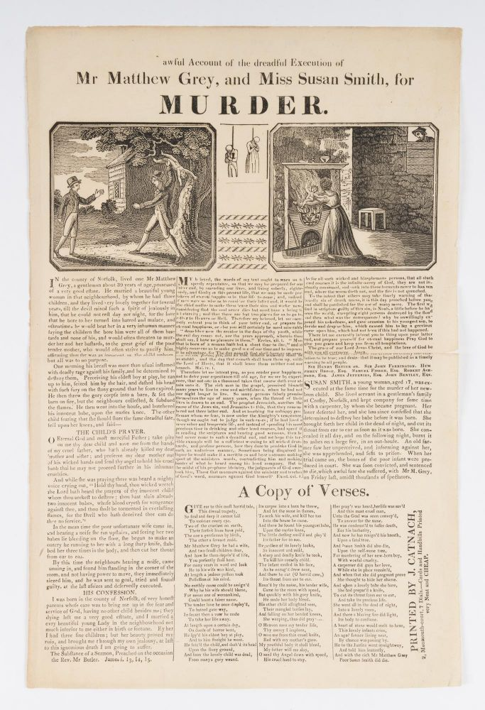 Awful Account of the Dreadful Execution of Mr Matthew Grey, And Miss. Broadside, Execution, Infanticide.