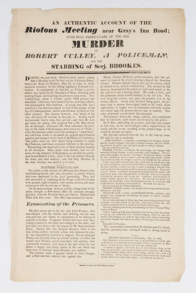 An Authentic Account of the Riotous Meeting Near Gray's Inn Road. Broadside, Coldbath Fields Riot.
