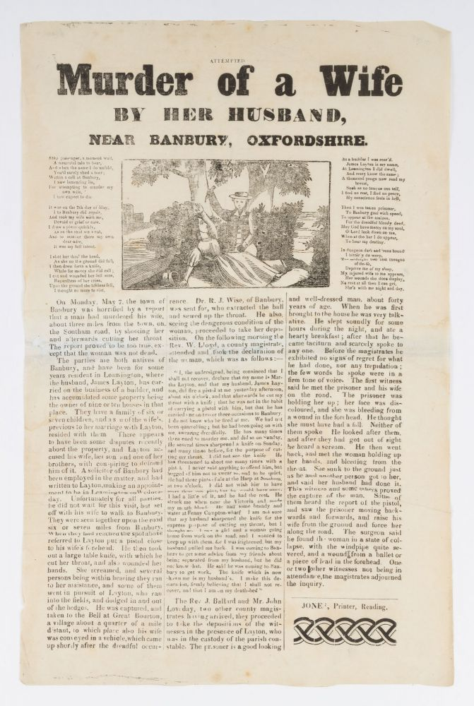 Attempted Murder of a Wife by Her Husband, Near Banbury, Oxfordshire. Broadside, Great Britain, Murder.