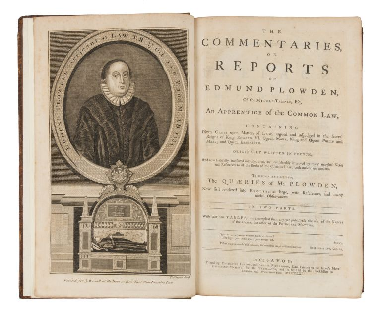 The Commentaries, Or Reports of Edmund Plowden, Of the Middle-Temple. Edmund Plowden.