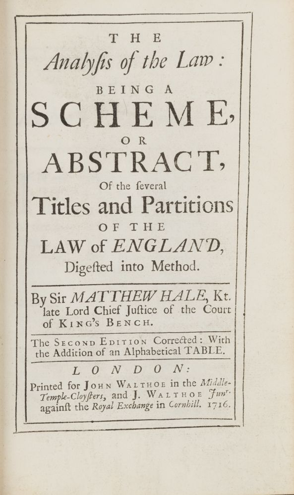 The Analysis of the Law, Being a Scheme, Or Abstract, Of the Several. Sir Matthew Hale.