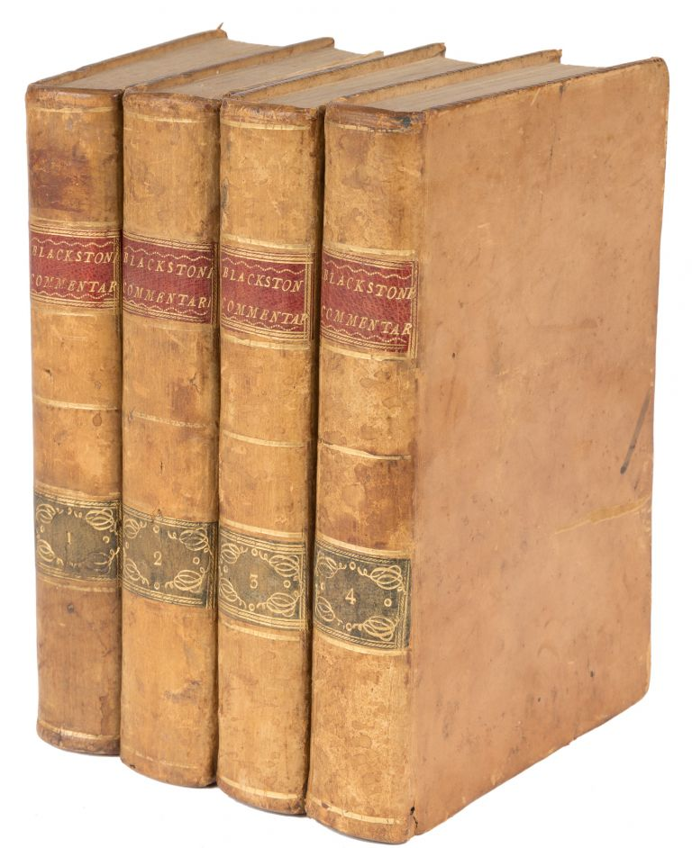 Commentaries on the Laws of England. Dublin, 1773. 4 Volumes. Sir William Blackstone.