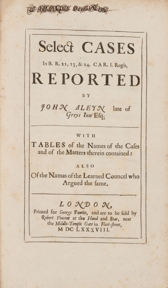 Select Cases In B R 22 23 & 24 Car I Regis with Tables of the. John Aleyn.