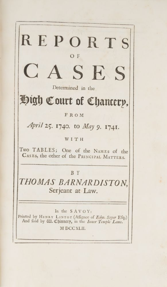 Reports of Cases Determined in the High Court of Chancery... 1742. Thomas Barnardiston.