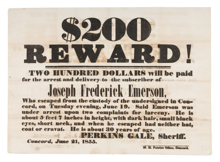 $200.00 Reward! Two Hundred Dollars Will Be Paid for the Arrest. Broadside, Escaped Prisoner, New Hampshire.