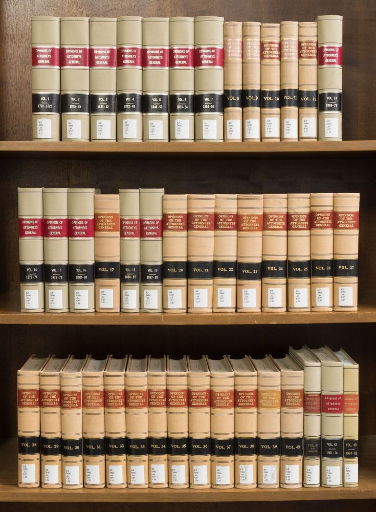 Official Opinions of the Attorneys General United States. Vols. 1-43. U S. Dept. of Justice.