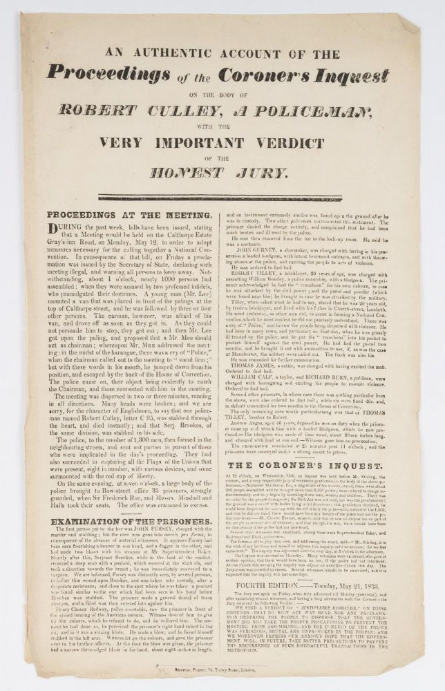 An Authentic Account of the Proceedings of the Coroner's Inquest. Broadside, Coldbath Fields Riot.