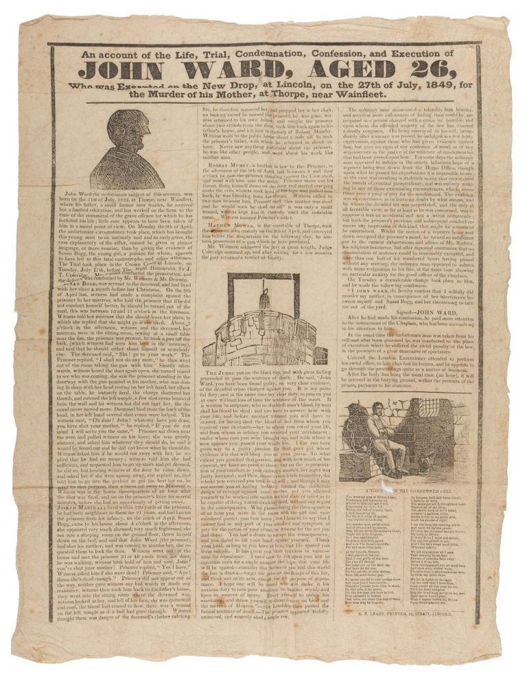 An Account of the Life, Trial, Condemnation, Confession, and Execution. Broadside, Execution, John Ward.