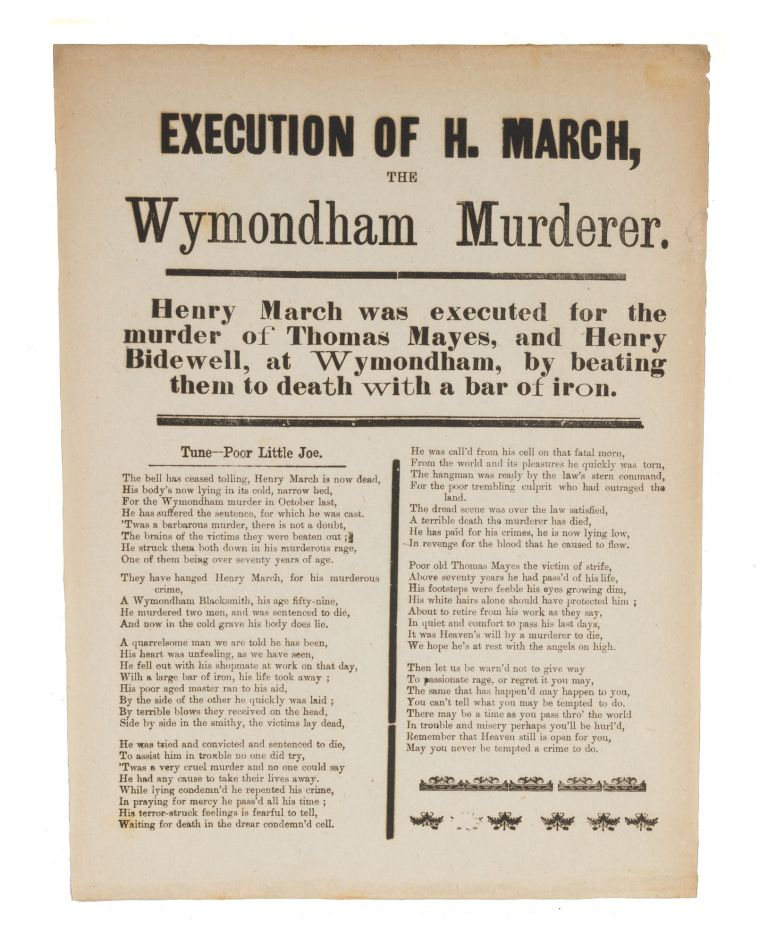 """Execution of H March, The Wymondham Murderer, 1877, 7-1/2"""" x 10"""" Broadside, Execution, Henry March."""
