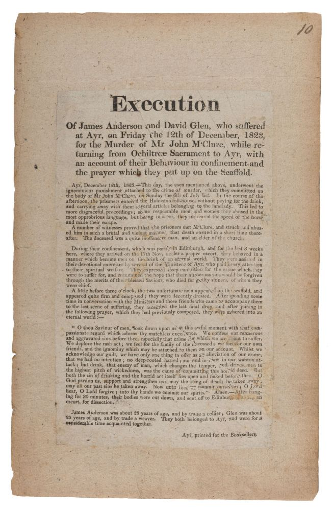Execution of James Anderson and David Glen, Who Suffered at Ayr. Broadside, Murder, James Anderson, David Glen.