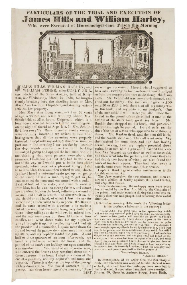 Particulars of the Trial and Execution of James Hills and William. Broadside, Executions, James Hills, Will Harley.