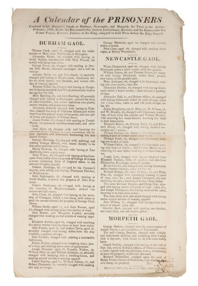 A Calendar of the Prisoners Confined in His Majesty's Gaols at Durham. Broadside, Criminals, Great Britain.
