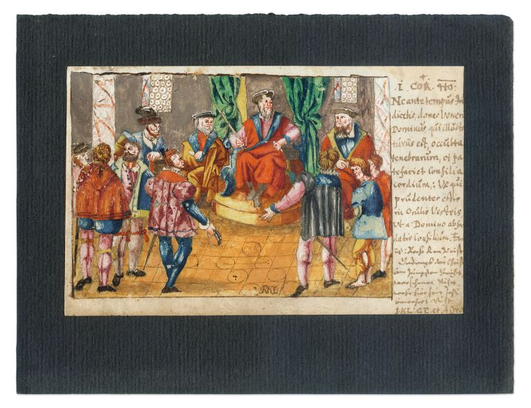 """Court Scene, Watercolor, Probably Germany, c 1600, 4"""" x 6-1/2"""" Artwork, Germany."""