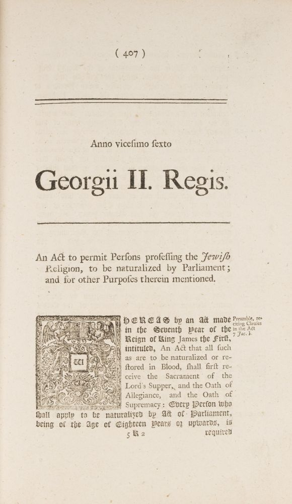 An Act to Permit Persons Professing the Jewish Religion, To Be. Jews, Great Britain.