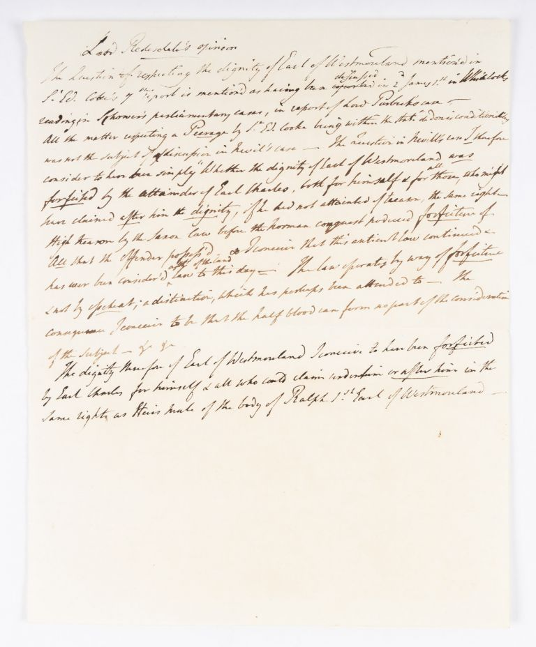 Lord Redesdale's Opinion, London, c 1829. Manuscript, Lord Redesdale.