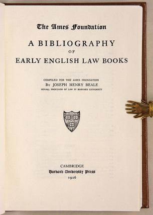 Bibliography of Early English Law Books. with A supplement...