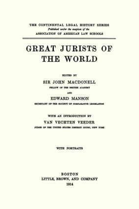 Great Jurists of the World.