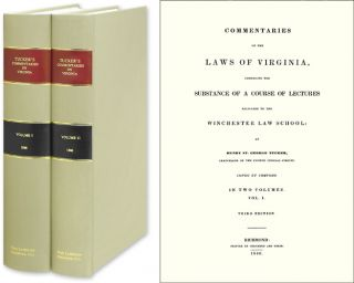 Commentaries on the Laws of Virginia. Comprising the Substance of a. Henry St. George Tucker, P. Finkelman, D. Cobin.
