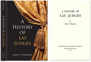 A History of Lay Judges. John P. Dawson.