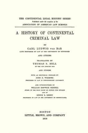 A History of Continental Criminal Law
