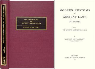 Modern Customs and Ancient Laws of Russia. Being the Ilchester. Maxime Kovalevsky