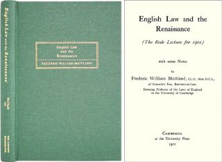 English Law and the Renaissance. ISBN 1584770341. Frederic William Maitland.