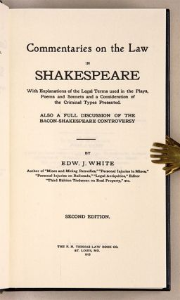 Commentaries on the Law in Shakespeare with Explainations Legal Terms