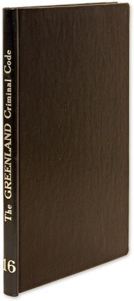 The Greenland Criminal Code. Introduction by Dr. Verner Goldschmidt. Dr. Verner Goldschmidt,...