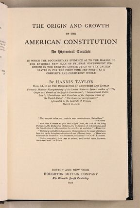 The Origin and Growth of the American Constitution. An Historical...
