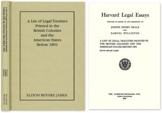 A List of Legal Treatises Printed in the British Colonies and the. Eldon Revare James