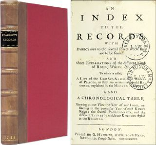 An Index to the Records With Directions to the Several Places where. William Strachey, Sir Joseph...
