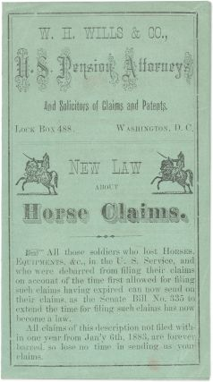 New Law About Horse Claims. Washington, circa 1883. Lawyer Advertisement, W H. Wills, Co