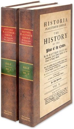 Historia Placitorum Coronae. The History of the Pleas of the Crown. Sir Matthew Hale, Sollem Emlyn