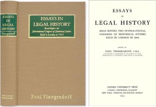 Essays in Legal History before the International Congress of. Sir Paul Vinogradoff