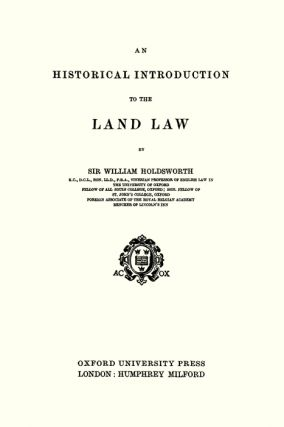 An Historical Introduction to the Land Law