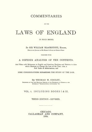 Commentaries on the Laws of England; In Four Books. With A Copious...