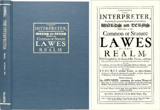 Nomothetas: The Interpreter Containing the Genuine Signification. John Cowell, Thomas Manley