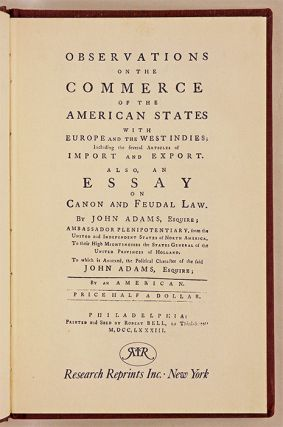 Observations on the Commerce of the American States with Europe and. John Adams