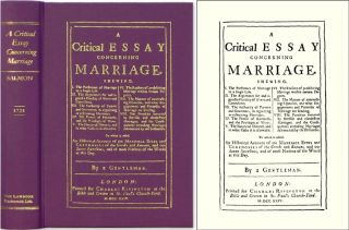 A Critical Essay Concerning Marriage. Shewing, I. The Preference of. Thomas Salmon