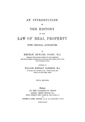 An Introduction to the History of the Law of Real Property...