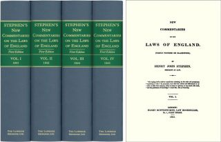 New Commentaries on the Laws of England. 4 Vols. Henry John Stephen